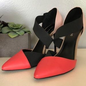 Coral and pink pumps